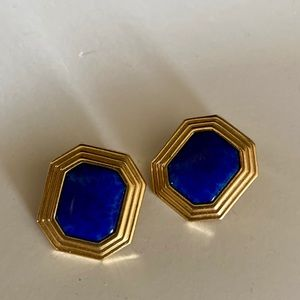 Vintage Christian Dior gold &blue clip on earrings